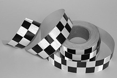 Preisvergleich Produktbild phil trade 25m 5cm Warntafel Aufkleber schwarz weiß Reflektor Band Waben Schach Karo Taxi