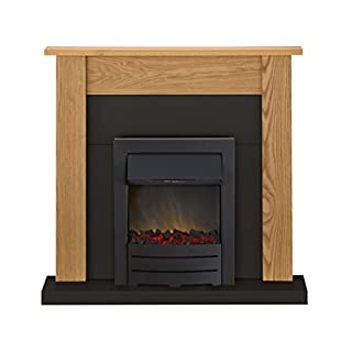 Adam Southwold Fireplace Suite in Oak and Black with Colorado Electric Fire in Black, 43 Inches