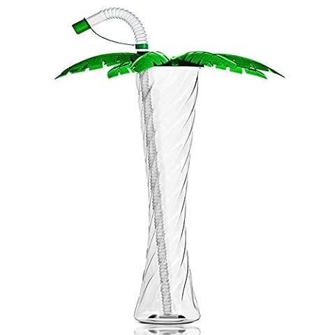 PALME BECHERN Plastik Kelchglas für Party Slush Eis Cola Sorbet Getränke 350ml 12oz (Grün mit klar Trinkhalm, 1 Kasten - 54 Bechern)