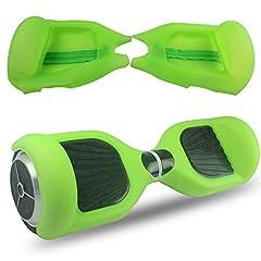 Idea Regalo - Abby Protettiva Hoverboard Cover in Silicone con Cerniera per 2 Ruote 6,5 Pollici Monopattino Auto Balance Scooter (Trasparente Verde+Cerniera)