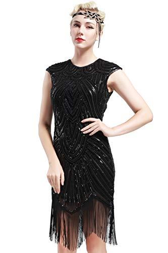BABEYOND Damen Kleid voller Pailletten 20er Stil Runder Ausschnitt Inspiriert von Great Gatsby Kostüm Kleid  (XL (Fits 82-92 cm Waist & 100-110 cm Hips), Schwarz)