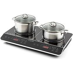Klarstein VariCook Slim - Plan de cuisson, Plaques de cuisson à double induction, 3500W, 240°C, 10 niveaux de puissance réglables, Surface en verre, Timer, Contrôle tactile via surface, Noir