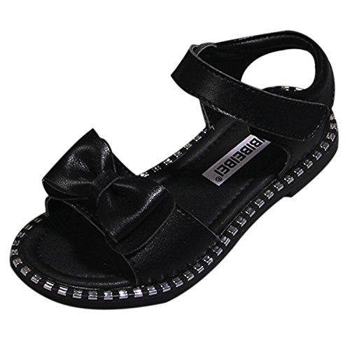 Oasap Girl's Fashion Peep Toe Velcro Flat Bow Sandals Black