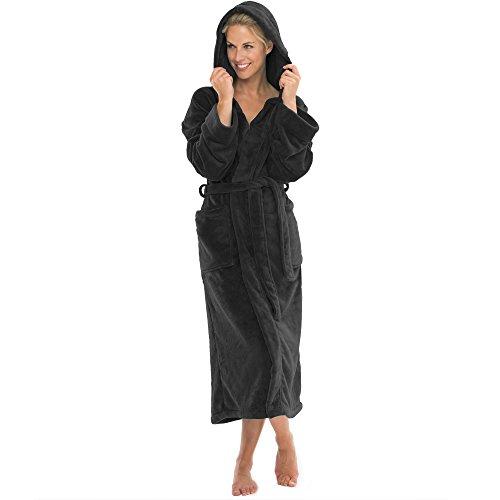 aqua-textil Bademantel mit Kapuze Damen Herren Morgenmantel weich und super flauschig, Coral Fleece Saunamantel lang, 0010839 Malibu XXL schwarz
