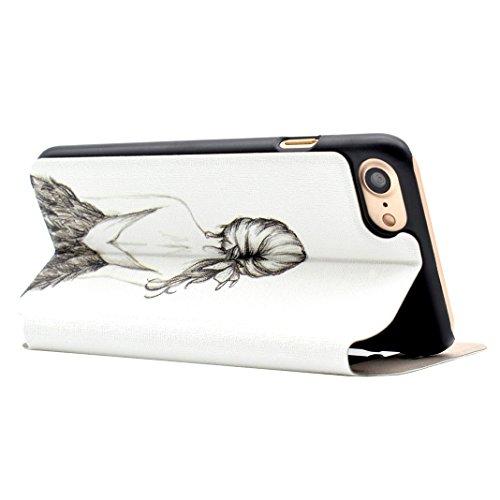 iPhone 7 Flip Cover, iPhone 7 Handyhülle mit Lanyard, iPhone 7 Bumper Flip Case, Moon mood® Mit Diamanten Ledertasche Brieftasche für iPhone 7 (4.7 Zoll) ,PU Leder Hülle Wallet Case Folio Schutzhülle  W-Mädchen
