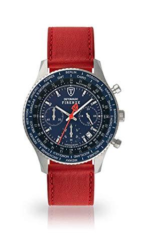DETOMASO FIRENZE Uomo Orologio Cronografo Analogico Quarzo cinturino in pelle rosso scuro quadrante blu SL1624C-BL-824