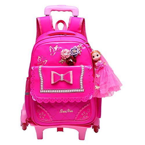 Children's Kids Rolling Backpack for 8-12 Years Old Girls - Fashion Princess Style 6 Wheels Trolley Bag BESBOMIG