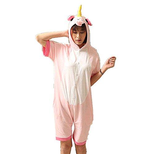 Kenmont Jumpsuit Tier Cartoon Einhorn Pyjama Overall Kostüm Sleepsuit Cosplay Animal Sleepwear für Kinder / Erwachsene (Medium, Pink Sommer Einhorn)