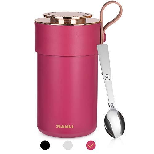 Opard Thermobehälter Lunchbox 600ml-Edelstahl Isolierbehälter Gefäß-Thermo Speisebehälter Box für warme Speißen, Essen, Babynahrung, Suppe, Obst - Behälter für Baby-Speisegefäß-Thermogefäß (Rot)