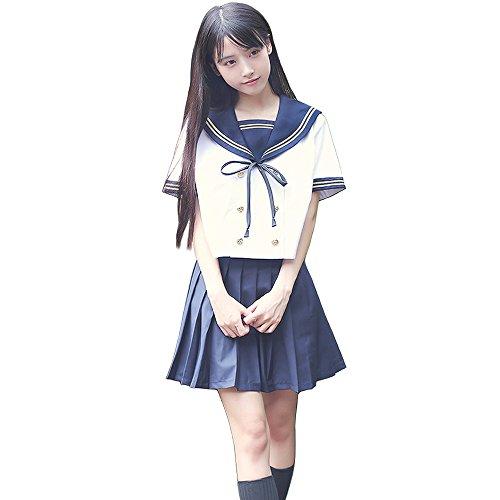 Olanstar Damen Japanische High School Uniform Anime Cosplay JK Kostüm Set Matrosenanzug Für Mädchen Weiß und Marineblau