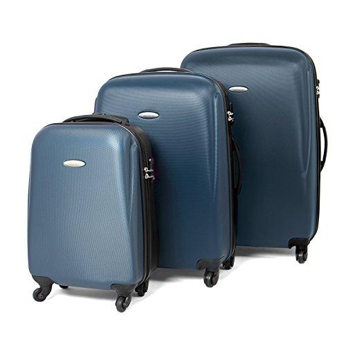 MasterGear Hartschalenkoffer Set aus ABS mit Reißverschluss in blau (petrol) / schwarz , 3er Kofferset , Koffer 4 Rollen (360 Grad) , Trolley, Reisekoffer, TSA, stapelbar , Größen: S, M & L