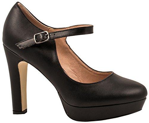 Elara Damen High Heels | Bequeme Spangen Pumps | Riemchen Stilettos | Chunkyrayan E22320-Schwarz-40