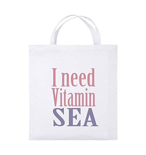 Comedy Bags - I Need Vitamin sea - Jutebeutel - Kurze Henkel - 38x42cm - Farbe: Weiss/Rosa-Violet