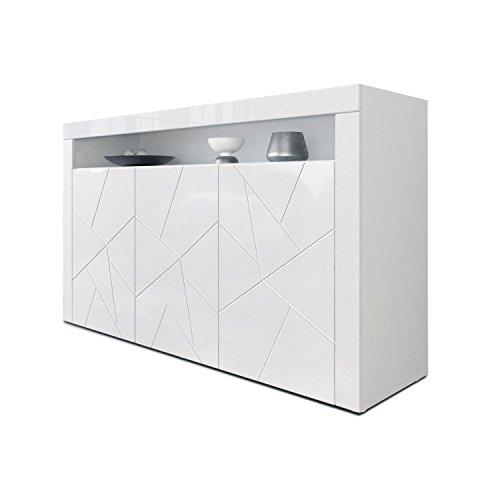 Sideboard Kommode Valencia, Korpus in Weiß matt - Fronten in Weiß Hochglanz Element mit 3D Struktur