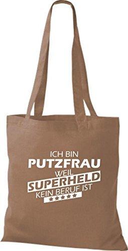 shirtstown Borsa di stoffa SONO Putzfrau, WEIL supereroe NESSUN lavoro è Marrone chiaro