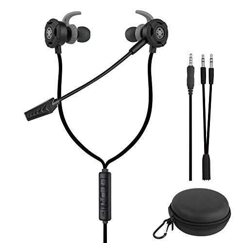 Samoleus cuffie in-ear con microfono, auricolare con cavo auricolari in ear con 3 paia di auricolari per xbox one/ps4/mobile phone/pc/laptop (nero - cuffie in-ear)