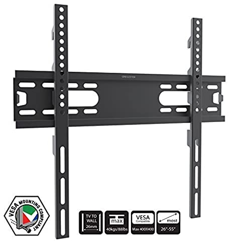 Very Slim TV Wall Mount Bracket for 26 - 55 inch LCD LED 3D Plasma Television Monitor Fully Vesa Compliant for up to