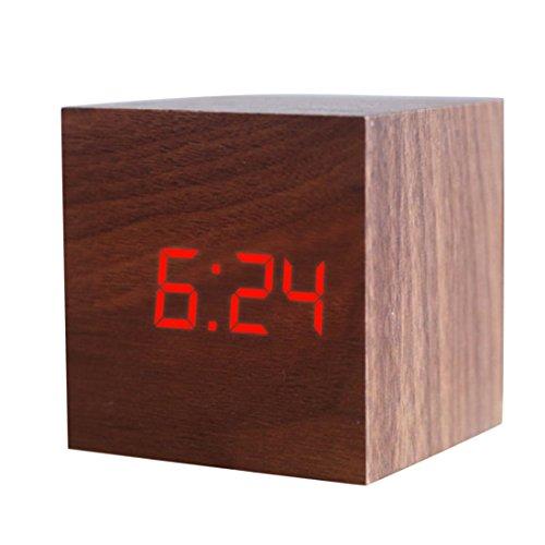 JoyliveCY Reloj Despertador Digital LED de Madera, Muestra la Fecha y la Temperatura, Cubo USB/batería-marrón-Rojo...