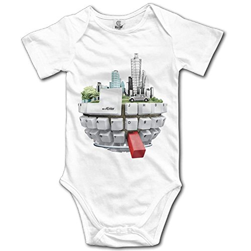 TKMSH Unisex Baby's Climbing Clothes Set Computer Keyboard City Bodysuits Romper Short Sleeved Light Onesies for 0-24 Months