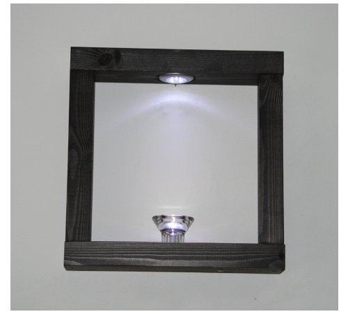 Nouveau Set de 2 Noir satiné Pin massif Fait main en bois avec Cube étagères LED Blanc