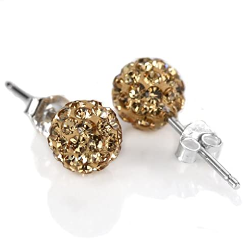 925 Sterling Silver Shamballa Swarovski Crystal 10mm Size Disco Ball Studs Earrings Light Colorado