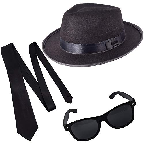 German Trendseller® Blues Brothers - Set - Schwarz - Deluxe -┃ Filz Hut + Sonnenbrille + Krawatte ┃ Sänger ┃ Karneval ┃ Brothers of Blues - (Brothers Kostüme)