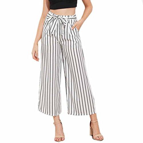 Hose damen Kolylong® Frauen Mode hohe Taille gestreifte Hose lange Locker Weite Beinhose Leggings Sporthose Pants (S, Weiß) (Hose Gestreifte Hosen)