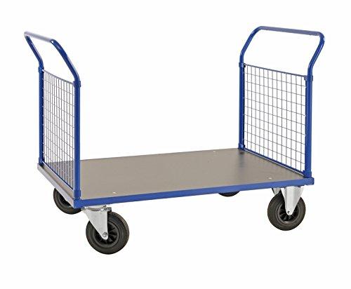 Plattformwagen | Transportwagen aus Stahl mit 2 Gitterwänden - 500 kg Tragkraft, 1000 x 700 mm, Zweiwandwagen / Industrie-wagen / Gitter-wagen mit Seitenwänden und Vollgummi-Reifen (Rollwagen Gitter)