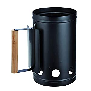 Bambelaa! – Encendedor de carbón para barbacoa con mango de madera, columna de combustión, encendedor para chimenea, color plata/negro, aprox. 17 x 27 x 27 cm, plata