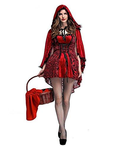 Imagen de disfraz caperucita roja gótico mujer vestido de fiesta para halloween carnaval actuación con capa de lalaareal  x large