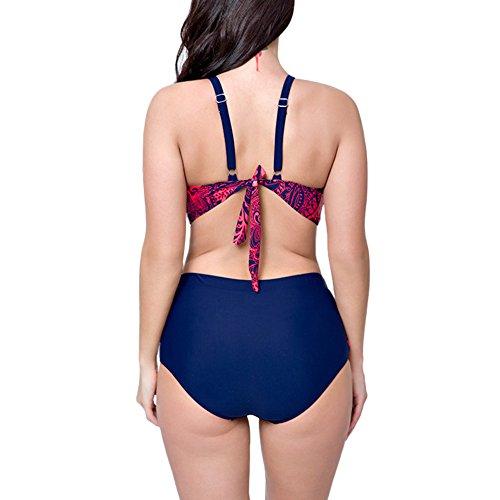 Perfashion Frauen Groß Größe High Waist Bademode Franse Troddel Bikini Badeanzug Rose Rot 1881