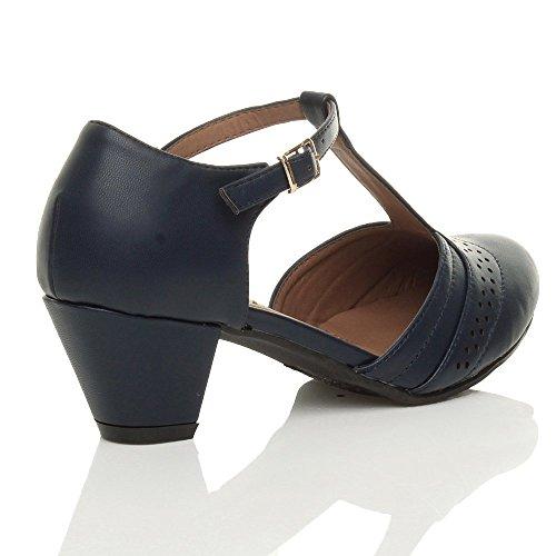 Femmes talon moyen salomé découper chaussures richelieu escarpins pointure Bleu marine mat