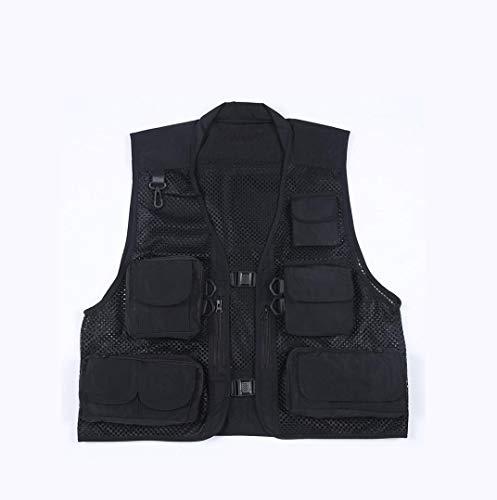 ADream Herren Outdoor-Angeln Weste Multi-Pocket Polyester Weste Camo Gilet (Schwarz XXL) (Farbe : Black, Größe : XXXL) -