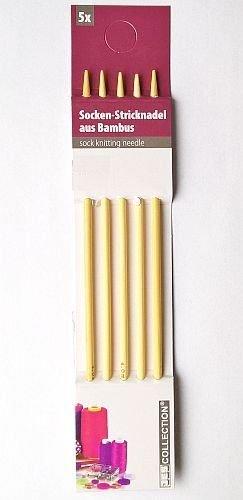 Preisvergleich Produktbild Bambus-Stricknadeln / Socken- bzw. Strumpfstricknadeln - 5 Stück - Ø 5 mm, 20 cm lang