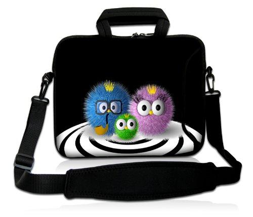 Luxburg® Design Laptoptasche Notebooktasche Sleeve mit Schultergurt und Fach für 15,6 Zoll, Motiv: putzige Familie