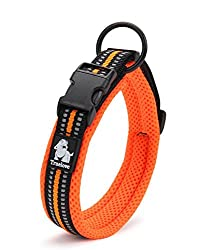 Vivi Bear Padded Soft Breathable Mesh Dog Collar 3M With Night Reflective Stripes Comfy And Soft Adjustable Collar For Small/Medium/Large Dogs, Easy Buckle Design, Orange 8 Sizes (#4 M(Neck 40-45cm))