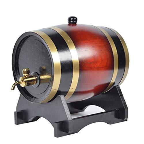 AJZXHE Weinfass 5-Liter-Eichenfass mit Getränkehalter und Wein- / Bier-Wasserspender Weinfass (Kapazität : 20L, Farbe : Weinrot) - 5-liter-eichenfass