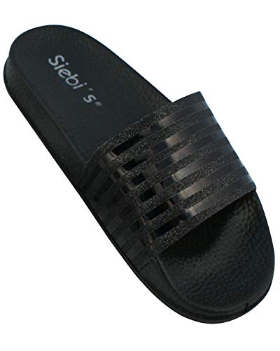 Siebi's Pisa Badeschuhe Damen modische Fußbett-Pantolette: Größe: 40 EU | Farbe: Schwarz