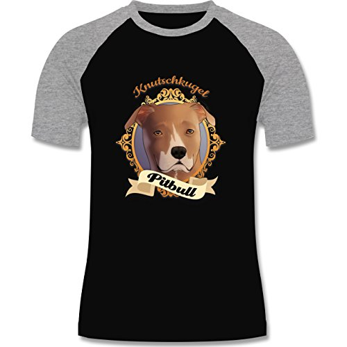Hunde - Pitbull - Knutschkugel - zweifarbiges Baseballshirt für Männer Schwarz/Grau Meliert
