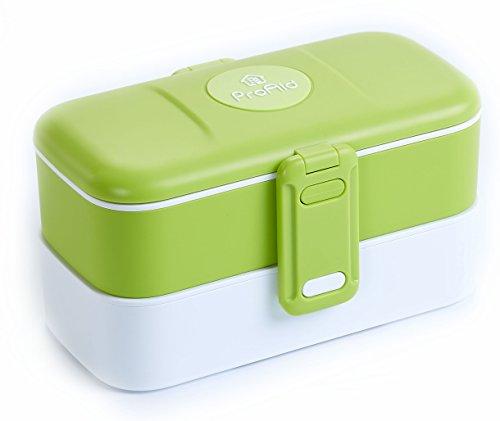 ProAid Obentobox Luchbox–2Ebenen auslaufsicher mit Edelstahl-Besteck BPA-frei geeignet für Mikrowelle Kühlschrank und Spülmaschine, edelstahl, grün, 20 x 12 x 10.8 cm Bento Box Mit Zwei Ebenen