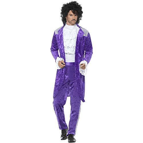 80er-Jahre Purple Musiker Prince Kostüm Herren (Prince Kostüm Fancy Dress 80's)