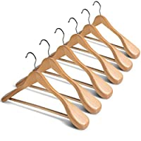 ZOBER High-Grade Wooden Hangers with Wide Shoulders, 6-Pack - Heavy-Duty Wooden Coat Hangers - Clothes Hangers with 6.3cm Shoulder Flares for Suits and Garments - Wooden Suit Hangers with Trouser Bar