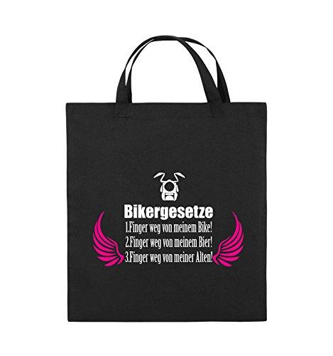 Comedy Bags - BIKERGESETZE - FLÜGEL - Jutebeutel - kurze Henkel - 38x42cm - Farbe: Schwarz / Weiss-Pink