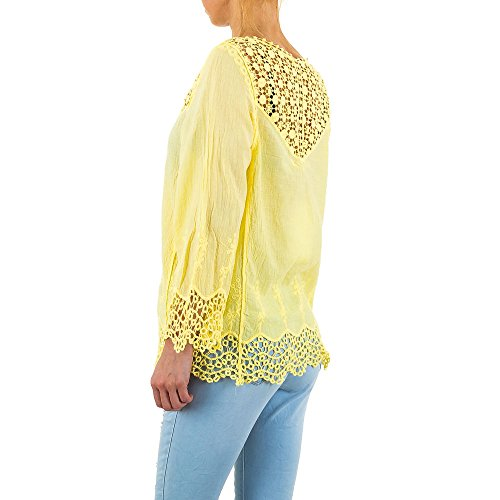Bestickte Spitzen Bluse Für Damen bei Ital-Design Gelb