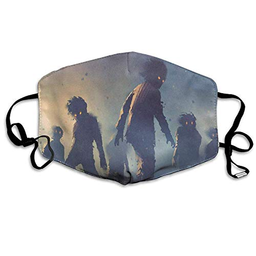 EighthStore Zombie Crowd Mouth Cover Mask Respirator Germ Protective Safety Warm Windproof Mask Dustproof Washable Safety Mask Reusable Mouth Mask Unisex for Men Women Polyeste Mund Maske -
