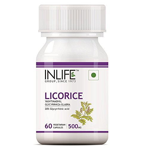INLIFE Licorice Root Extract (Yastimadhu) Standardized to 20% Glycyrrhizinic Acid Supplement, 500 mg - 60 Vegetarian Capsules (Pack of 1)