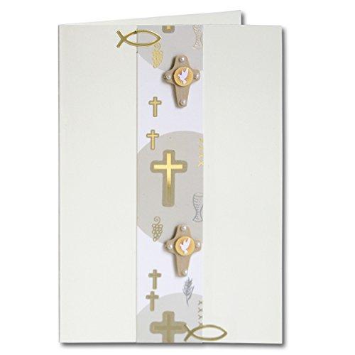 Artoz Kreativ Bastel-Set Kommunion/Konfirmation/Firmung | Set für 5 Karten | Farbe Weiß | mit Faltkarten, 3D Sticker, Bastelpapier & Umschläge | Ideal für Einladungskarten und Danksagungen
