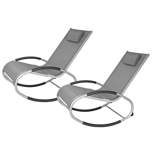 EUGAD 2tlg Gartenliege Relaxliege Garten Schaukelstuhl Sessel Relaxstuhl für Terrasse Balkon, Metallgestell + Textilgewebe, Gartenstuhl Möbel, Grau