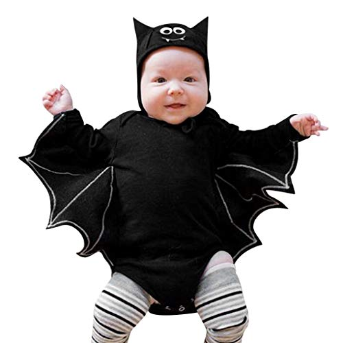 INLLADDY Kostüm fur Baby Jungen Madchen Fledermaus Bat Onesies + Hut Halloween Party Dekoration Cosplay Costume Schwarz1 70 (Muffin Mann Kostüm)