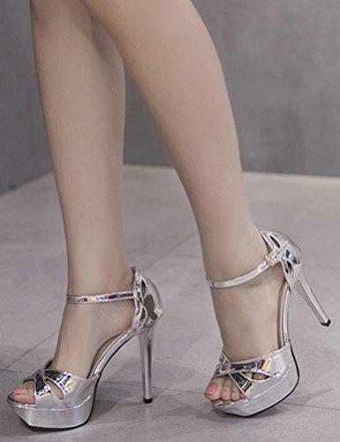 Aisun Damen Fashion Peep Toe Cross Riemen Offen High Heels Plateau Sandalen Silber